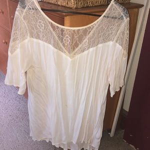 White chiffon top with lace top